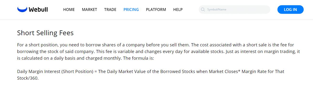 Webull Reviews - Short Selling Fees
