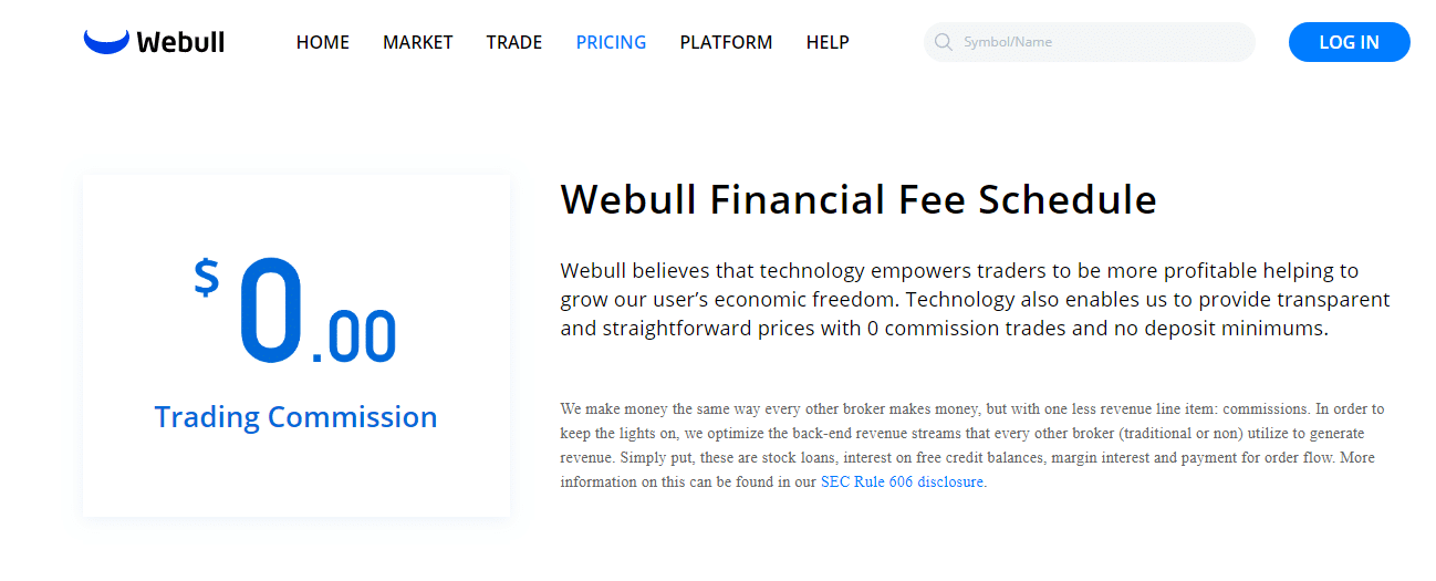 Webull Reviews - Financial Fee Schedule