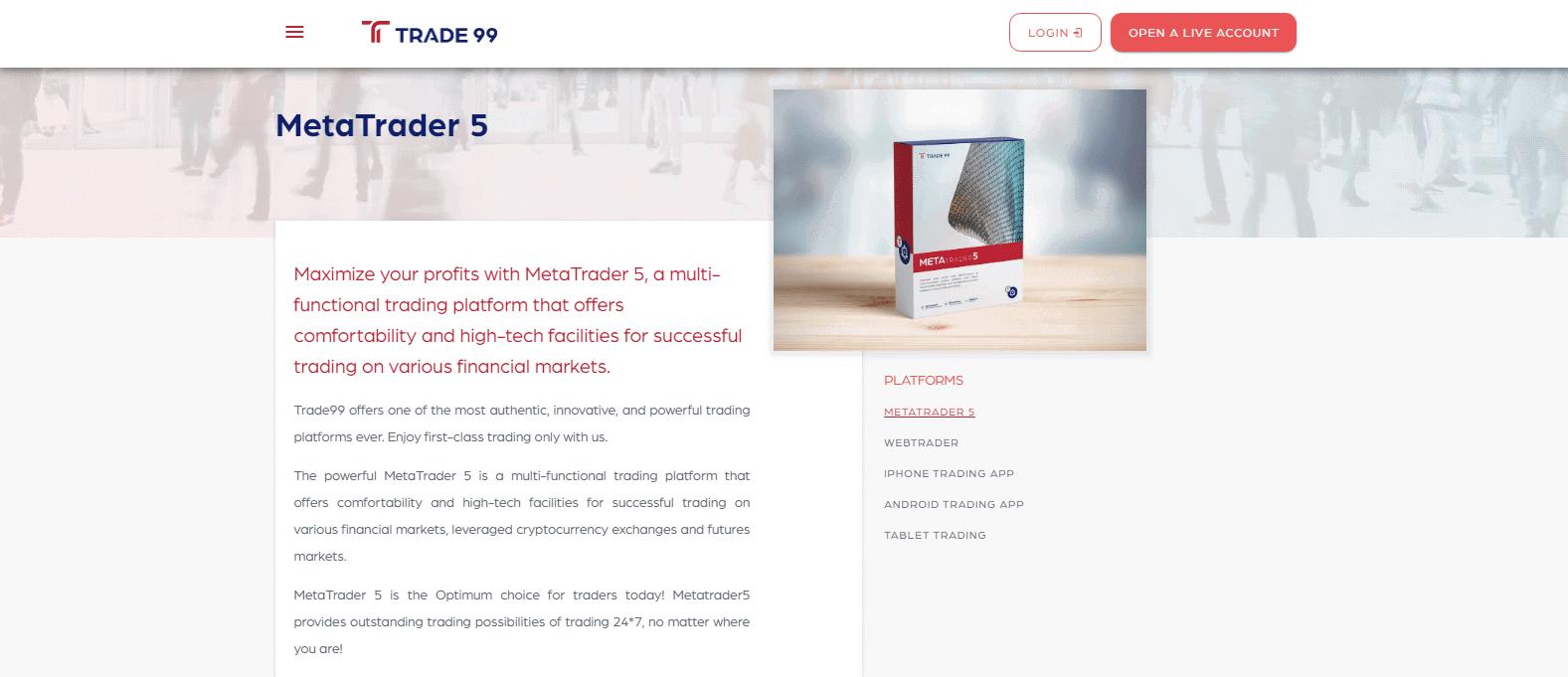Trade99's MT5 Trading Platform