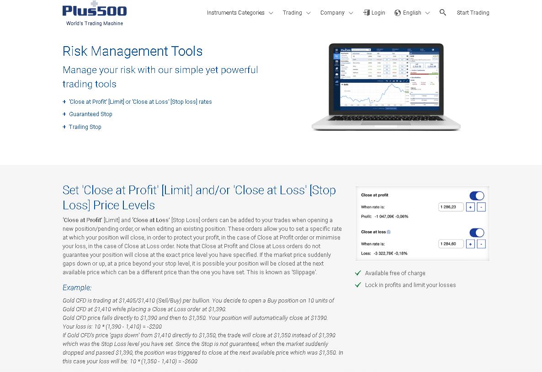 Plus500 Review - Risk Management