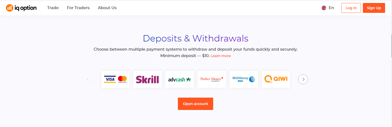 IQ Option Reviews – Deposits and Withdrawals