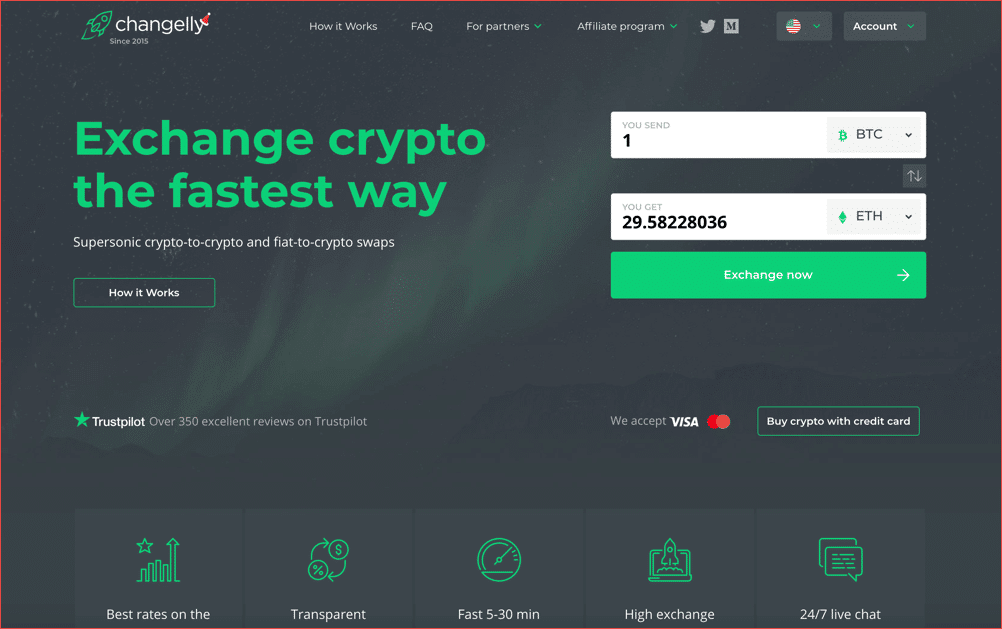 Changelly – top cryptocurrency exchanges