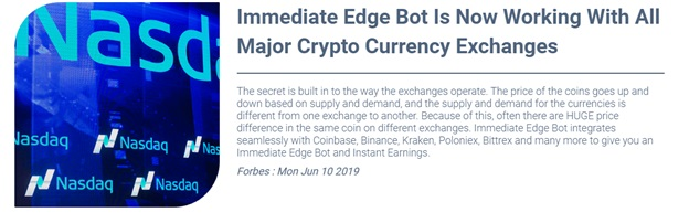 Immediate Edge Reviews – Working with Major Cryptocurrency Exchanges